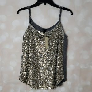 J. CREW sequin cami gold and silver gray tank top